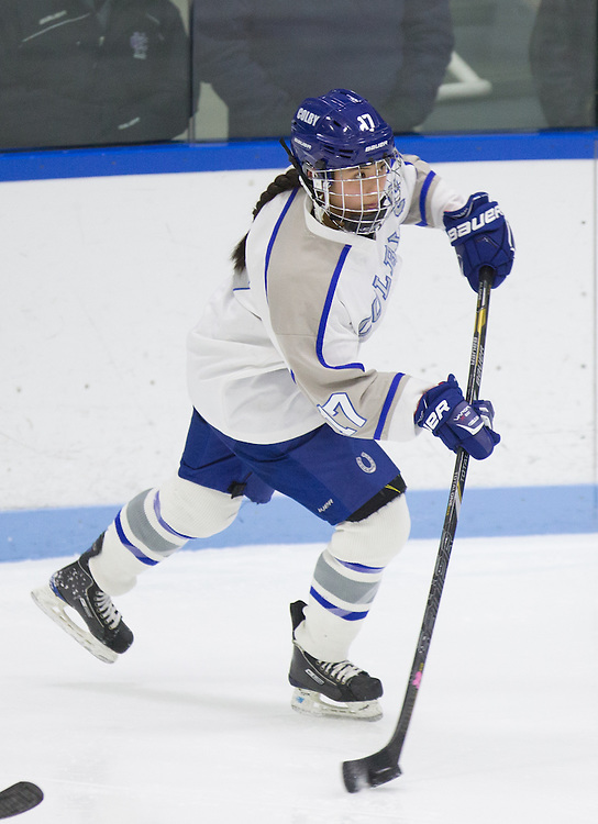 Carolyn Fuwa, of Colby College, in a NCAA Division III hockey game against Holy Cross on January 13, 2015 in Waterville, ME. (Dustin Satloff/Colby College Athletics)