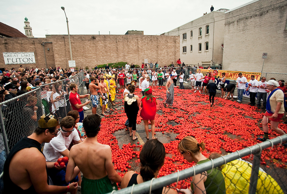 Over 200 participated in Milwaukee's 4th annual Tomato Romp on North Avenue, Saturday, Sept. 18, 2010. A $3 donation was required as well as the use of safety glasses. Proceeds from the the fight went to Feeding America. The fight was the last event in a festival which included The East Side Green Market and a bloody mary competition and tasting.