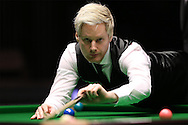 Neil Robertson (Aus) in action. Ronnie O'Sullivan (Eng) v Neil Robertson (Aus), Quarter-Final match at the Dafabet Masters Snooker 2017, at Alexandra Palace in London on Thursday 19th January 2017.<br /> pic by John Patrick Fletcher, Andrew Orchard sports photography.