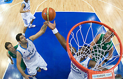 Ioannis Bourousis of Greece, Sofoklis Schortsanitis of Greece and Primoz Brezec (7) of Slovenia during the EuroBasket 2009 3rd place match between Slovenia and Greece, on September 20, 2009, in Arena Spodek, Katowice, Poland.   (Photo by Vid Ponikvar / Sportida)