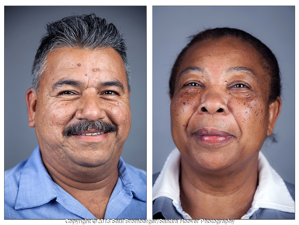 Client: The Redwoods Retirement Community -- portraits of employees Raul Hernandez and Amicede Delusca.
