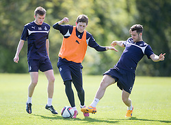 Falkirk's Ryan Blair, Blair Alston and Kieran Duffie. Falkirk FC training at Swansea's training pitches, before next weeks Cup Final.