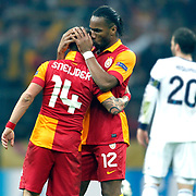 Galatasaray's Wesley Sneijder (L) celebrate his goal with team mate during their UEFA Champions League Quarter-finals, Second leg match Galatasaray between Real Madrid at the TT Arena AliSamiYen Spor Kompleksi in Istanbul, Turkey on Tuesday 09 April 2013. Photo by Aykut AKICI/TURKPIX