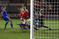 Charlotte Estcourt of Wales Women (14) scores her teams 3rd goal. UEFA Womens Euro qualifying match, Wales Women v Israel Women at Rodney Parade in Newport, South Wales on Thursday 15th September 2016.<br /> pic by Andrew Orchard, Andrew Orchard sports photography.