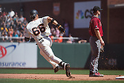 San Francisco Giants center fielder Gorkys Hernandez (66) rounds first base on a base hit against the Arizona Diamondbacks at AT&T Park in San Francisco, Calif., on August 31, 2016. (Stan Olszewski/Special to S.F. Examiner)
