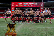 New Zealand performs the Haka after winning the HSBC World Rugby Sevens in Sydney. Mens Cup Final match between New Zealand and USA, 2019, Spotless Stadium, Saturday 3rd February 2019. Copyright Photo: David Neilson / www.photosport.nz