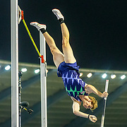 BRUSSELS, BELGIUM:  September 3:   Christopher Nilsen  of the United States in action in the pole vault for men competition during the Wanda Diamond League 2021 Memorial Van Damme Athletics competition at King Baudouin Stadium on September 3, 2021 in  Brussels, Belgium. (Photo by Tim Clayton/Corbis via Getty Images)