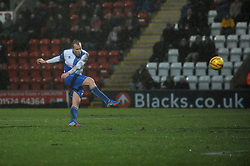 Bristol Rovers' David Clarkson takes a shot at goal. - Photo mandatory by-line: Dougie Allward/JMP - Tel: Mobile: 07966 386802 14/12/2013 - SPORT - Football - Morecombe - Globe Arena - Morecombe v Bristol Rovers - Sky Bet League Two