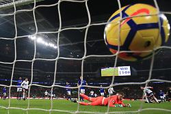 13 January 2018 -  Premier League - Tottenham Hotspur v Everton - Jordan Pickford of Everton looks back as Christian Eriksen of Tottenham Hotspur scores their 4th goal - Photo: Marc Atkins/Offside