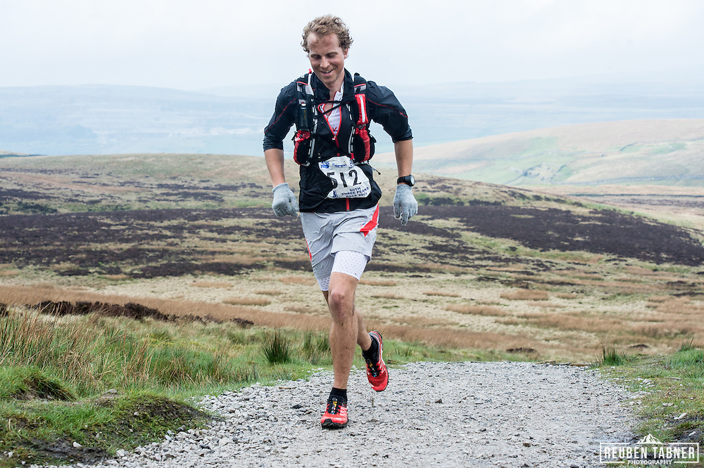 A relaxed looking Thorbjorn Thornson Ludvigsen, during the 60th Yorkshire Three Peaks race as it starts the main climb up Pen-y-ghent in the Yorkshire Dales.