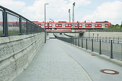 railway underpass with train
