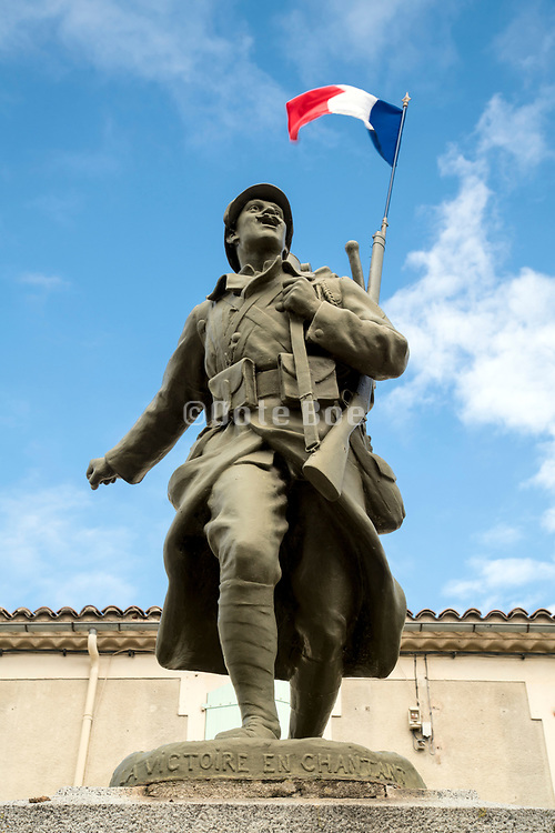 ww1 memorial statue on the centenary memorial day 11 november 2018 in Villelongue-d'Aude France