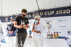 Jeppe Borch presented with the Jordy Walker Trophy, recognizing the most improved young match race sailor at the Bermuda Gold Cup. Bermuda Gold Cup and Open Match Racing World Championship. Royal Bermuda Yacht Club, Hamilton, Bermuda. Day Five. 30th October 2020.