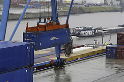 August 8, 2017 - Brussels, BELGIUM - Illustration picture shows the container terminal during the arrival of the first ship with fresh pineapples from Antwerp to Brussels to replace traditional road transport, organised by Group A. De Witte company, Tuesday 08 August 2017. BELGA PHOTO NICOLAS MAETERLINCK (Credit Image: © Nicolas Maeterlinck/Belga via ZUMA Press)
