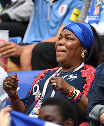 Paul Pogba 's mother during the FIFA World Cup 2018 Round of 8 match at the Nizhny Novgorod Stadium Russia, on July 6, 2018. . Photo by Christian Liewig/ABACAPRESS.COM