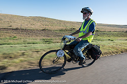 Brent Hanson of California riding his Class-1, single-cylinder, single-speed, belt drive 1913 Shaw Motorcycle during the Motorcycle Cannonball Race of the Century. Stage-9 Dodge City, KS to Pueblo, CO. USA. Monday September 19, 2016. Photography ©2016 Michael Lichter.