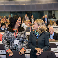 "Brussels, Belgium - 25 September 2017 <br /> ""The Future of Finances"" conference.<br /> Lilyana Pavlova, Minister of Bulgaria's EU Council Presidency and Nadia Calviño, Director General of DG Budget.<br /> Photo: European Commission / Ezequiel Scagnetti"