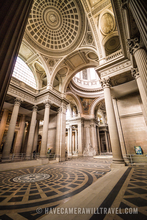 Interior shot of the main hall of the Pantheon in the Latin Quarter in Paris. Originally built as a cathedral, it is now a mausoleum for French notables. With its distinctive domed roof on top of a hill, it's one of the major landmarks of Paris.