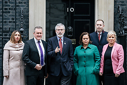 © Licensed to London News Pictures. 21/11/2017. London, UK. Sinn Fein Leader GERRY ADAMS (3-L) leaves 10 Downing Street with a delegation from Sinn Fein after meeting with Prime Minister Theresa May. Photo credit: Rob Pinney/LNP