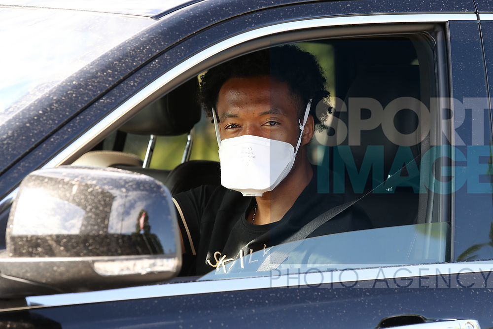 Juventus's Colombian midfielder Juan Cuadrado arrives for training as part of Serie A restart at the Juventus Training Centre, Turin. Picture date: 20th May 2020. Picture credit should read: Jonathan Moscrop/Sportimage