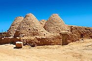 """Pictures of the beehive adobe buildings of Harran, south west Anatolia, Turkey.  Harran was a major ancient city in Upper Mesopotamia whose site is near the modern village of Altınbaşak, Turkey, 24 miles (44 kilometers) southeast of Şanlıurfa. The location is in a district of Şanlıurfa Province that is also named """"Harran"""". Harran is famous for its traditional 'beehive' adobe houses, constructed entirely without wood. The design of these makes them cool inside. 43 .<br /> <br /> If you prefer to buy from our ALAMY PHOTO LIBRARY  Collection visit : https://www.alamy.com/portfolio/paul-williams-funkystock/harran.html<br /> <br /> Visit our TURKEY PHOTO COLLECTIONS for more photos to download or buy as wall art prints https://funkystock.photoshelter.com/gallery-collection/3f-Pictures-of-Turkey-Turkey-Photos-Images-Fotos/C0000U.hJWkZxAbg ."""