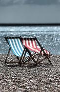 Empty Deckchairs on Beach, Brighton, Sussex, Britain - 16th September 2009.