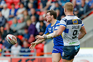 Doncaster RLFC interchange Kieran Cross (15) passes the ball during the Challenge Cup 2018 match between Doncaster and Featherstone Rovers at the Keepmoat Stadium, Doncaster, England on 22 April 2018. Picture by Simon Davies.