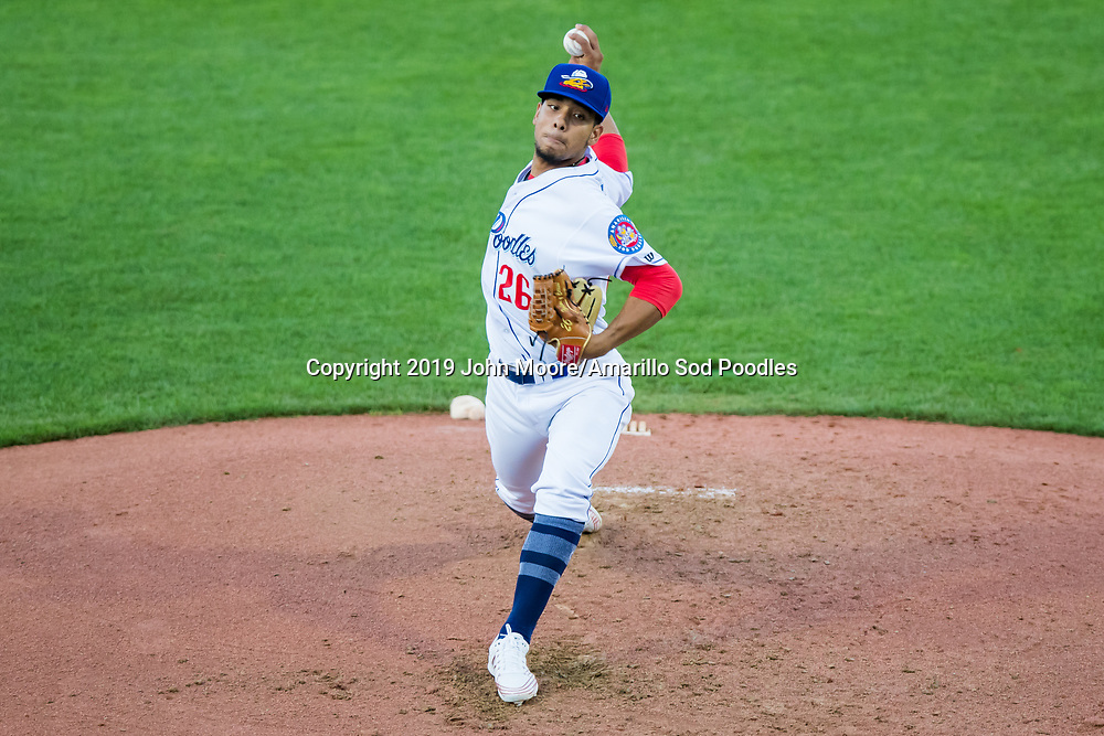 Amarillo Sod Poodles pitcher Luis Patino (26) pitches against the Midland RockHounds on Tuesday, Aug. 13, 2019, at HODGETOWN in Amarillo, Texas. [Photo by John Moore/Amarillo Sod Poodles]