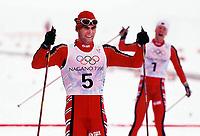 Langrenn<br /> OL 1998 Nagano<br /> Foto: imago/Digitalsport<br /> NORWAY ONLY<br /> <br /> 14.02.1998  <br /> Norwegischer Doppelerfolg über 15 km: Thomas Alsgaard (5) gewinnt vor Bjørn Dæhlie (7) - Norge