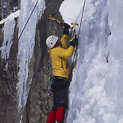 Ice climber in the White Mountain National Forest, New Hampshire