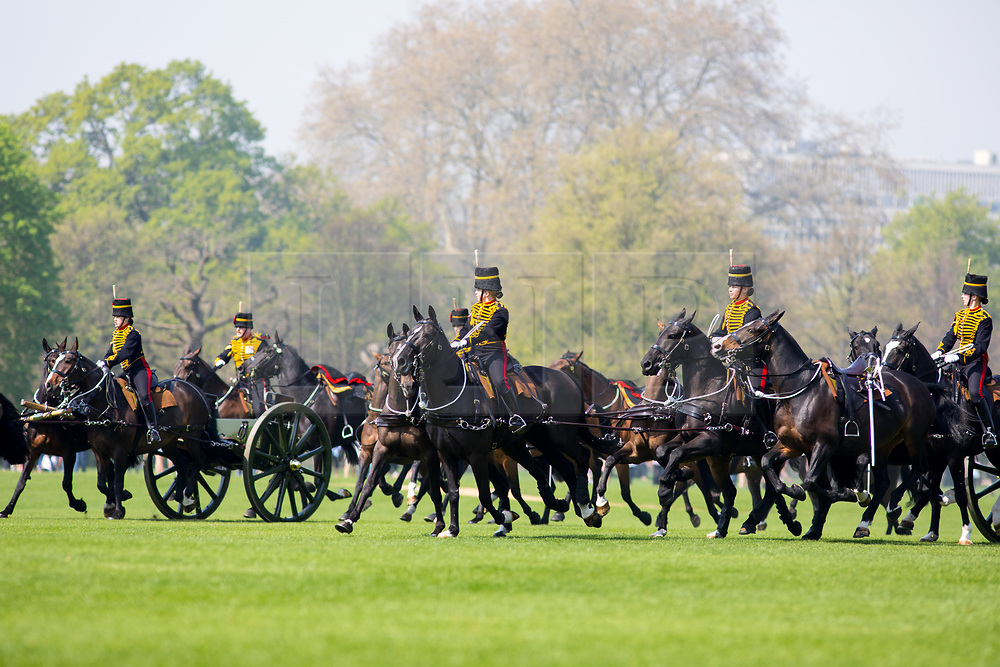 © Licensed to London News Pictures. 21/04/2018. London, UK. The King's Troop Royal Horse Artillery give a 41 Gun Royal Salute in Hyde Park to mark Queen Elizabeth II's 92nd birthday. A gun salute is also taking place near Tower Bridge. The Queen's official birthday is celebrated in June with the Trooping the Colour ceremony. Photo credit : Tom Nicholson/LNP