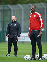 NEWPORT, WALES - Sunday, May 26, 2019: Guy Handscombe (L) and Patrick Vieira during day three of the Football Association of Wales National Coaches Conference 2019 at Dragon Park. (Pic by David Rawcliffe/Propaganda)