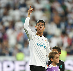August 17, 2017 - Madrid, Spain - Cristiano Ronaldo of Real Madrid during the celebrations for winning the Spanish Super Cup in the return match against Barcelona at Santiago Bernabeu Stadium in Madrid, Spain on August 17, 2017. Cristiano Ronaldo received five-match ban after being booked with a red card in the previous match. (Credit Image: © Raddad Jebarah/NurPhoto via ZUMA Press)