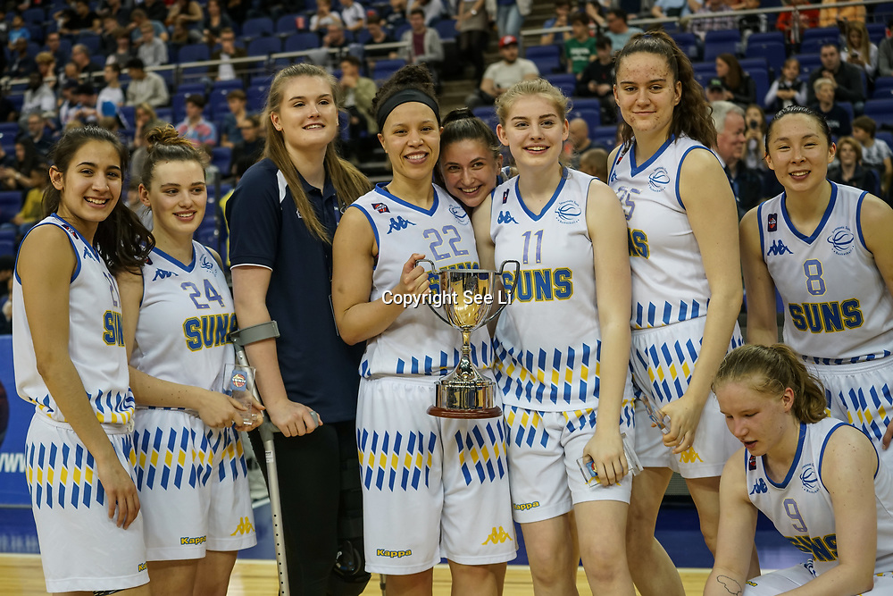 London,England,UK. 14th May 2017. Sevenoaks suns winners of the girls teams at the BBL Play-Off Finals also fundraising for Hoops Aid 2017 but also a major fundraising opportunity for the Sports Traider Charity at London's O2 Arena, UK. by See Li
