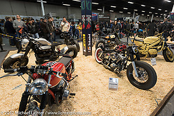 Custom bikes in the Custom and Tuning Show, the custom bike show portion of the big Motor Spring bike show in Moscow, Russia. Saturday April 22, 2017. Photography ©2017 Michael Lichter.