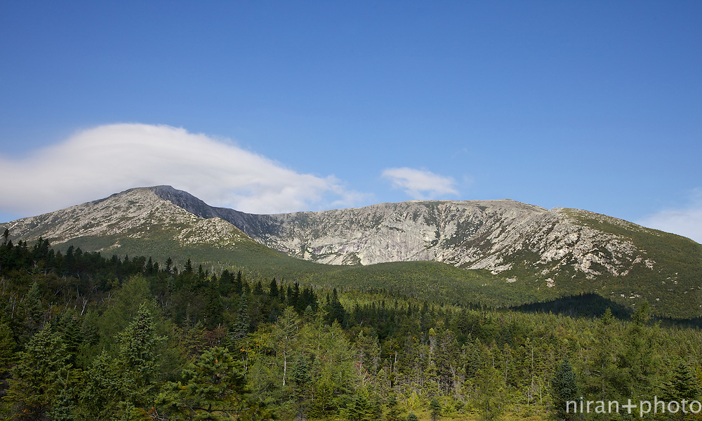 Scenic Overlook of Mt Katahdin from the Chimney Pond Trail.