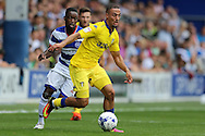 Kemar Roofe of Leeds United in action. Skybet EFL championship match, Queens Park Rangers v Leeds United at Loftus Road Stadium in London on Sunday 7th August 2016.<br /> pic by John Patrick Fletcher, Andrew Orchard sports photography.