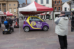 © Licensed to London News Pictures . 05/06/2014 . Newark , Nottinghamshire , UK . A UKIP Smart car in Market Square , Newark today (Thursday 5th June 2014) as voting takes place in the Newark by-election , following the resignation of incumbent Patrick Mercer . Photo credit : Joel Goodman/LNP