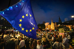 © Licensed to London News Pictures. 28/08/2019. London, UK. Anti-Brexit Protestors block Parliament Square. Earlier it emerged that The Queen will be asked by the government to suspend Parliament in the days after MPs return to work in September - a few weeks before the Brexit deadline of October 31st. Photo credit: Peter Macdiarmid/LNP