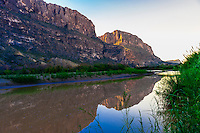 The Rio Grande RIver at Cottonwood, near Castolon in Big Bend National Park, Texas USA. The Rio Grande is the border between the U.S. and Mexico (Mexico is on the far side of the river).