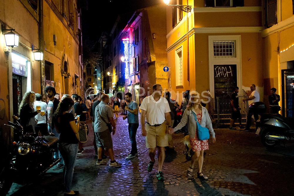 Street scene in Trastevere, Rome, Italy.