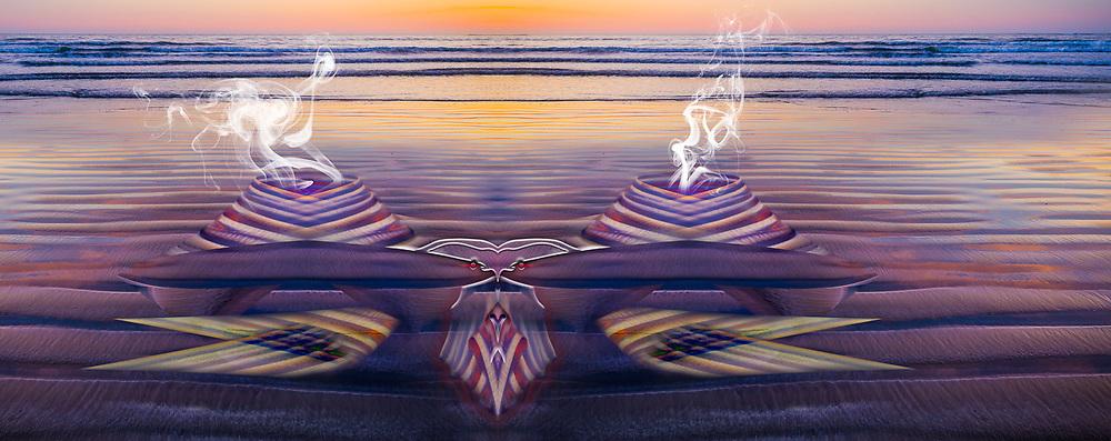 """Hermit Crab Run Amok"", derivative image created from a photo of sunset light, May, Hobuck Beach, Pacific Ocean, Olympic Peninsula, WA, USA"