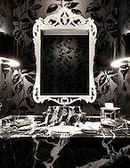 First floor powder room in the Bexley Home of Mark and Roseanne Rosen. (Will Shilling/Capital Style)