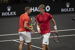 September 21, 2018 - Chicago, Illinois, U.S - Team World member JACK SOCK of the United States strategizes with his partner KEVIN ANDERSON of South Africa during the first doubles match on Day One of the Laver Cup at the United Center in Chicago, Illinois. (Credit Image: © Shelley Lipton/ZUMA Wire)