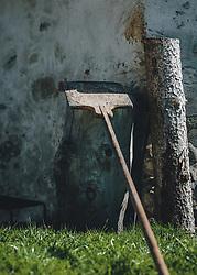 THEMENBILD - ein Brotschieber lehnt an einem Holzstamm, aufgenommen am 10. April 2020 in Kaprun, Oesterreich // a bread pusher leans against a log, in Kaprun, Austria on 2020/04/10. EXPA Pictures © 2020, PhotoCredit: EXPA/Stefanie Oberhauser
