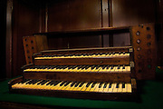 St. Michan's Church in Central Dublin. The building - some of which dates back to the 11th century - has a series of crypts, which house 'naturally mummified' corpses....This keyboard was the original one for the organ, and the one alledgedly played by Handel..