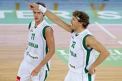 Goran Dragic of Slovenia and Miha Zupan of Slovenia during friendly basketball match between National teams of Slovenia and Montenegro of Adecco Ex-Yu Cup 2011 as part of exhibition games before European Championship Lithuania 2011, on August 7, 2011, in Arena Stozice, Ljubljana, Slovenia. Slovenia defeated Crna Gora 86-79. (Photo by Vid Ponikvar / Sportida)