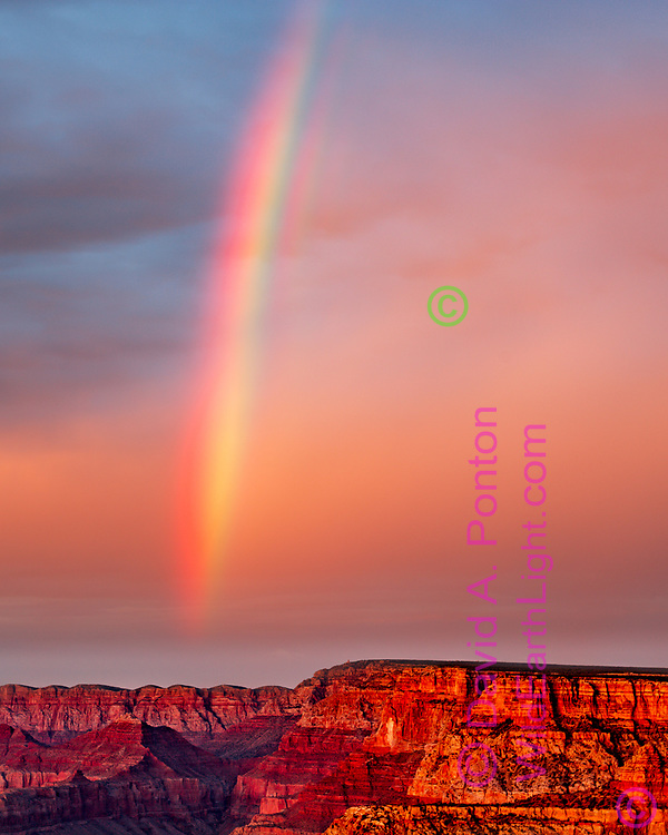 Rainbow and sunset light over the southeast rim of the Grand Canyon. © David A. Ponton