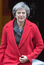 Downing Street, London, November 29th 2016. British Prime Minister Theresa May leaves 10 Downing Street following the weekly cabinet meeting.