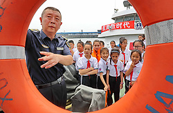 July 5, 2018 - Qinhuangdao, Qinhuangdao, China - Qinhuangdao, CHINA-Pupils learn maritime knowledge in Qinhuangdao, north China's Hebei Province, marking the upcoming Maritime Day of China which falls on July 11th every year. (Credit Image: © SIPA Asia via ZUMA Wire)